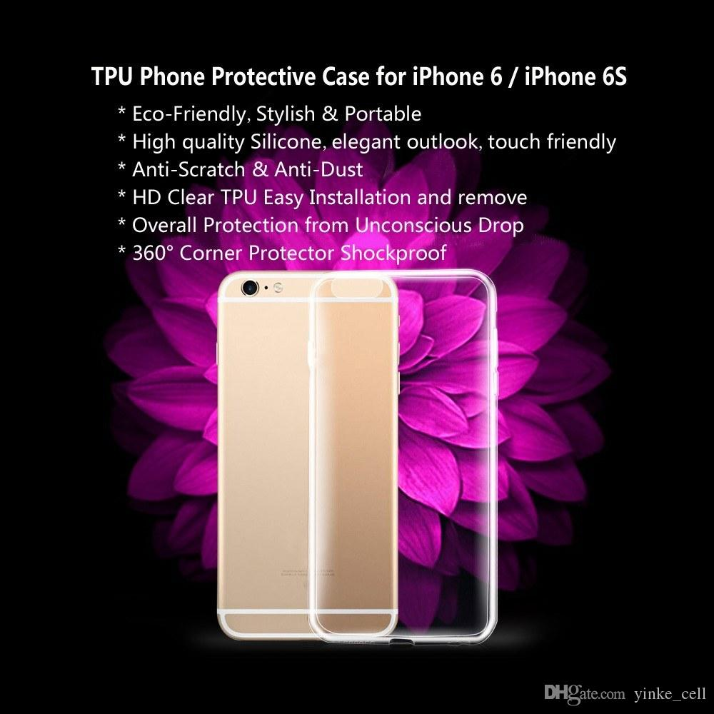 super popular 33b6d b0811 For iPhone 6 6S Case Phone Shell Shockproof Soft Transparent Clear Back  Cover TPU Phone Cases
