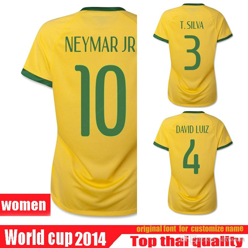 b700a451e ... buy 2018 2014 brazil women jersey home away thai quality brasil soccer  jersey fred thiago silva cheap adidas mens 2018 colombia home jersey bold  yellow ...