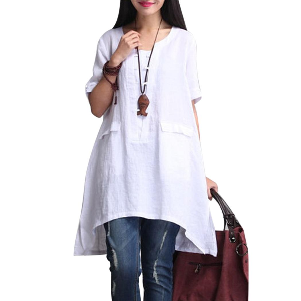 a9349b6d974 2019 Vintage Brand Plus Size Tops Blouse Women Linen Half Sleeve Casual  Solid Loose Long Shirts Irregular Summer Blusas Female 2018 From Baiqian