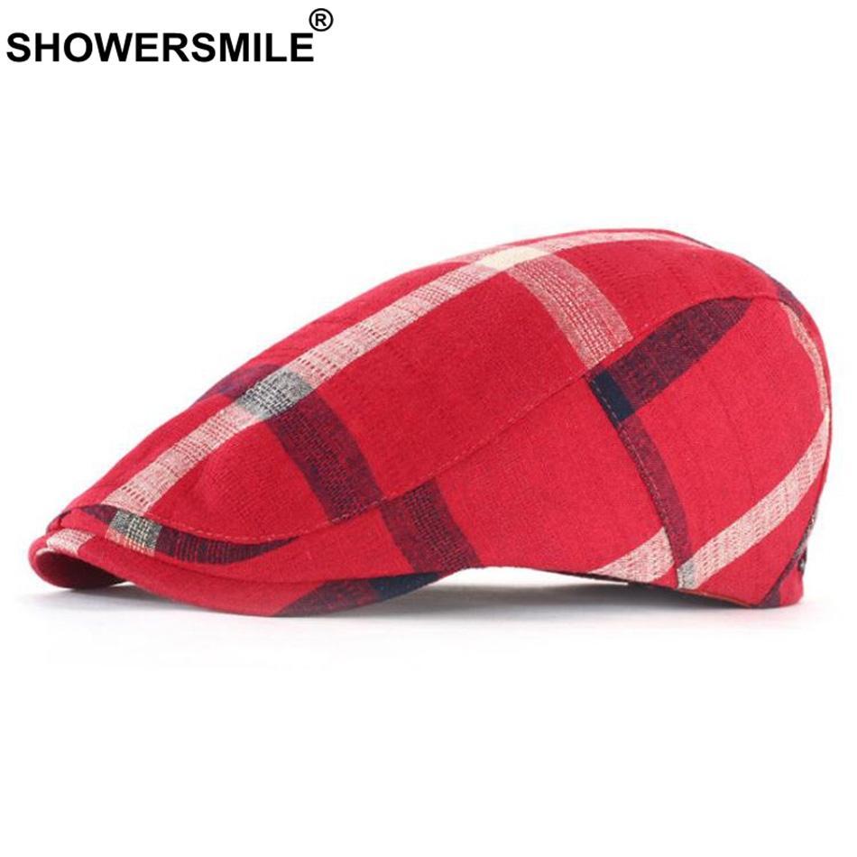 eeffb1778a42e 2019 SHOWERSMILE Red Plaid Berets Women Cotton Casual Classic Duckbill Hat  Men Patchwork British Retro Summer Autumn Flat Cap Beret From Hongshaor, ...
