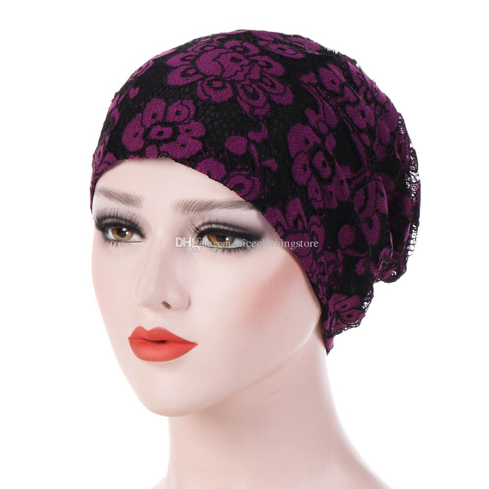 Muslim Women Lace Flower Cotton Knit Turban Hat chemotherapy Chemo Beanies Caps Headwrap Hair Loss For Cancer Accessories