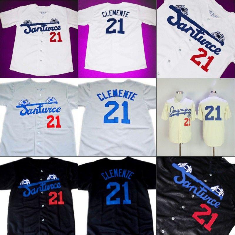 Compre Roberto CLEMENTE   21 Santurce Crabbers Puerto Rico Jersey 100%  Cosido Camisetas De Béisbol Personalizadas Cualquier Número De Nombre Envío  Gratuito ... dd7b1e96451c2
