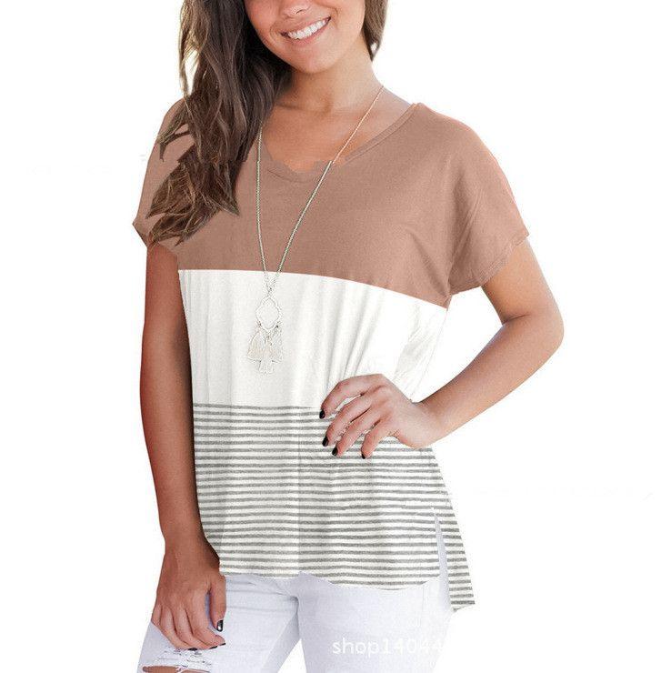 Frauen V-Ausschnitt Kurzarm Sommer T-Shirts Casual Gestreiften 3 Farben Patchwork T Tops Lose Stil T-Shirts
