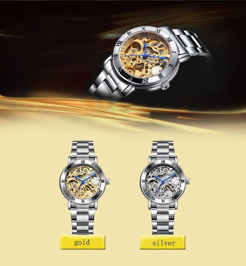 Relogio Feminino Ladies Automatic Skeleton Watches Women Gold Tone Relojes mecánicos famosos Top Brand IK Coloring Watches