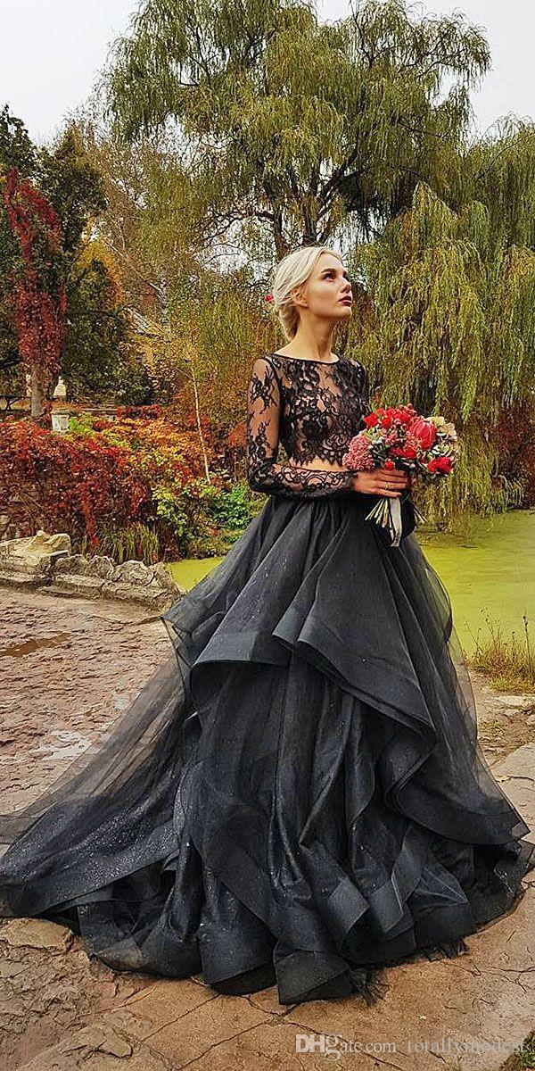 Gothic Black Colorful Wedding Dresses With Color Illusion Lace Top Ruffles Organza Skirt Boho Black Wedding Gowns Couture
