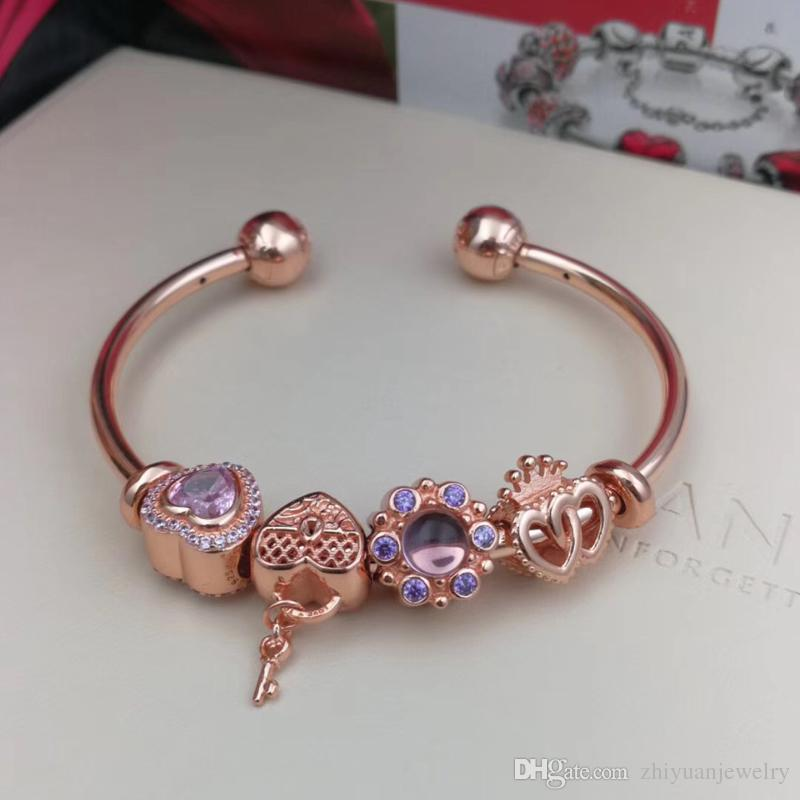 Pandora Rose Gold Regal Tales Sweetheart Love Charm Open Bangle Bracelets  925 Sterling Silver Jewelry Full Package Gifts Bracelet Gold Chains From