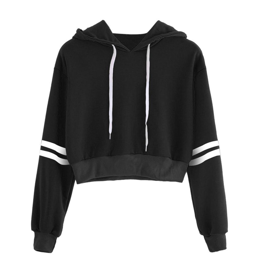60% günstig schöner Stil für die ganze Familie Highstreet Cropped Hoodie Streifen Bischof Ärmel Crop Sweatshirt 2018  Herbst Lässige Frauen Kurze Pullover #