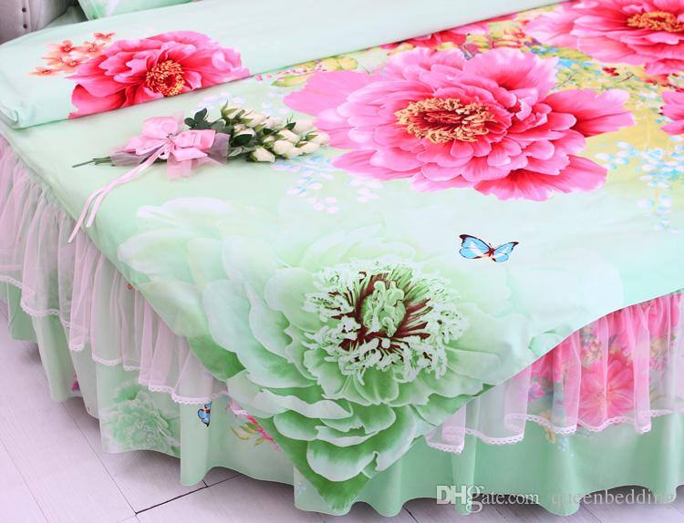Personalizzato Cotton Round corner Palace GREEN RED peony Sweet Round Letto Princess Bedding set superking Size Copripiumino Federa LACE Bedding