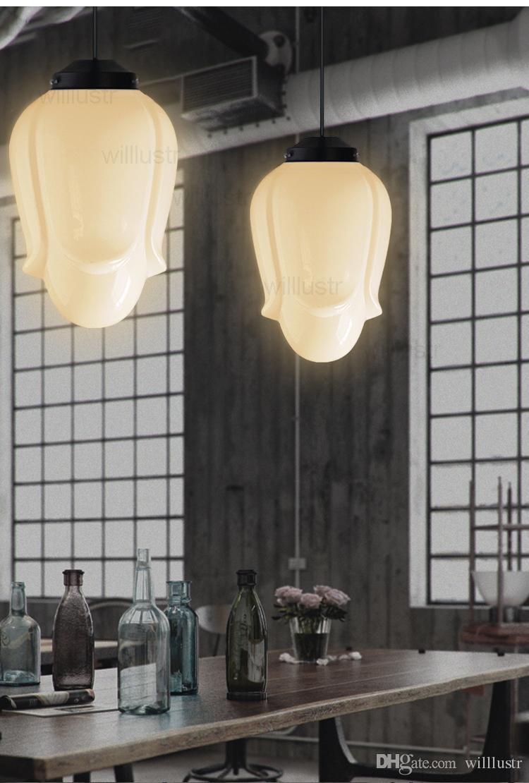 الحليب الزجاج الأبيض قلادة ضوء مصباح آرت ديكو خمر شمال أوروبا تعليق الإضاءة الخفيفة الشمال غرفة الطعام فندق متجر ECOLE الباريسي