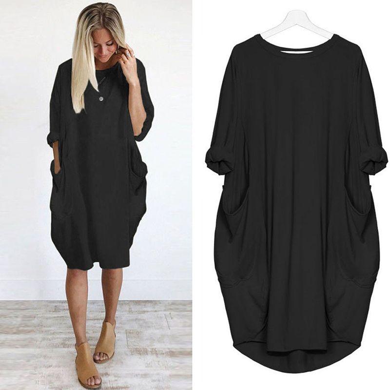 57cf47d17 Compre Loose 2019 Summer Autumn Dress Women Fashion Solid Loose Elegante  Elegante Bolsillos O Cuello Sexy Mujer Vestidos Vestidos Batas A  27.96 Del  ...