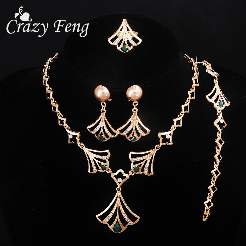 Vintage Wedding Dress Accessory Gold Color Necklace+Ring+Bracelets+Drop Earrings For Women Crystal Nigerian Bridal Jewelry Sets