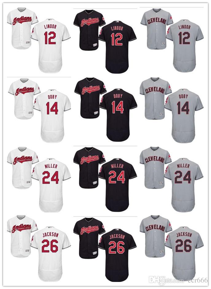 Custom Men s Women Cleveland Indian Jersey  12 Lindor 14 Larry Doby ... ab0317cbb