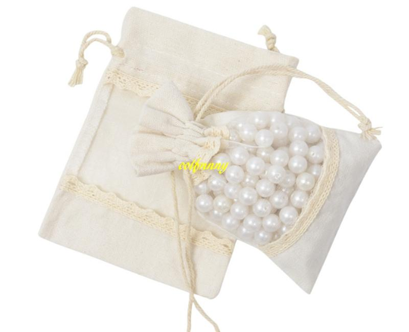 10x14cm Transparent PVC Window Lace Cotton Burlap Bag Jewellery beads Drawstring Pouch Wedding gift bags