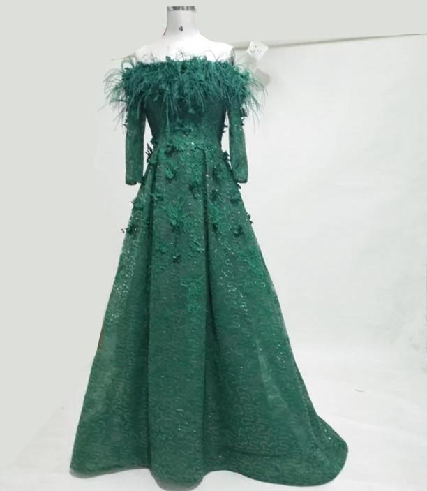 0e00755f8f42 Emerald Green Prom Dresses Long Sleeves Feather Off Shoulder Lace A Line  Floor Length Evening Prom Gowns 2018 Real Picture Arabic Dresses Prom  Dresses For ...