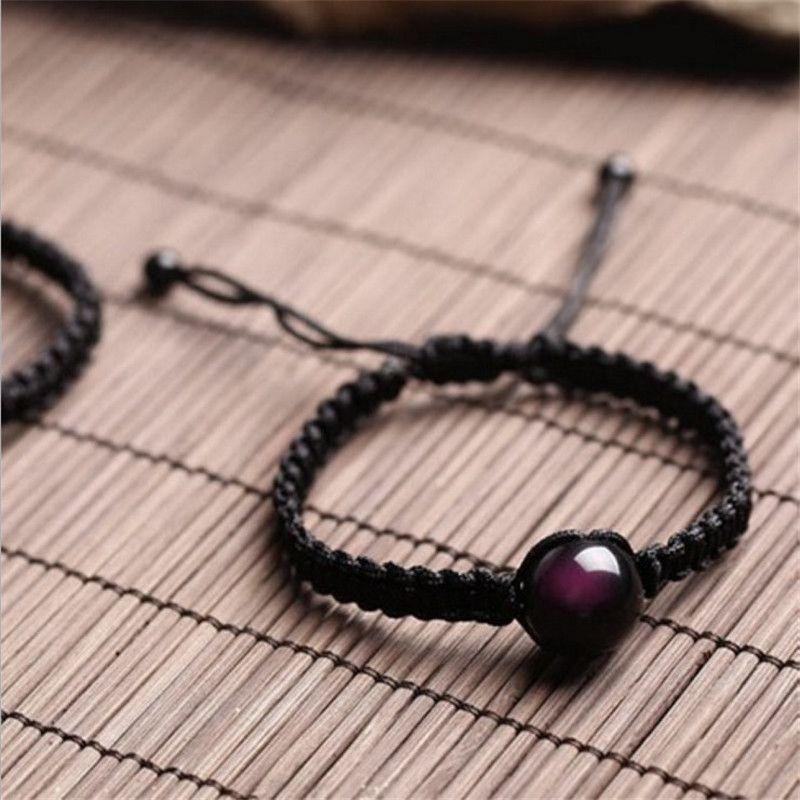 Braccialetti 16mm Braccialetti Natural Black Ossidiana Braccialetto tessuta a mano Lucky Red Rope Rainbow Eye Beads Ball coppia uomo donna