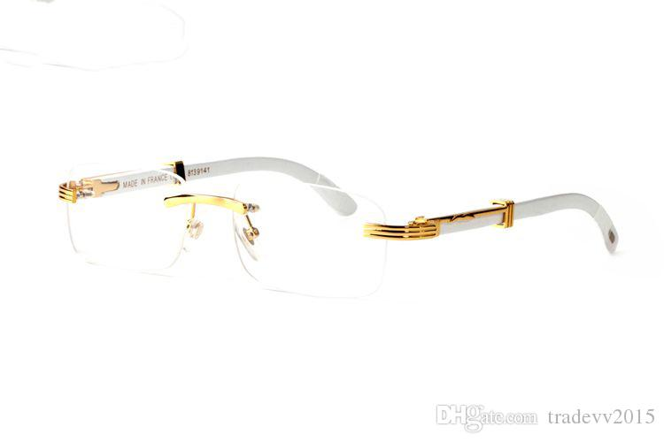 fashion eyeyglasses rimless sunglasses women men gold buffalo horn glasses white natural feet legs frames rectnagle clear lenses occhiali