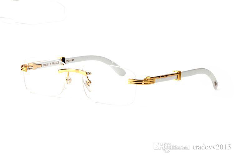 lunettes de soleil sans monture de mode lunettes de soleil femmes hommes doré lunettes de corne de buffle blanc naturel pieds jambes montures rectnagle lentilles claires occhiali