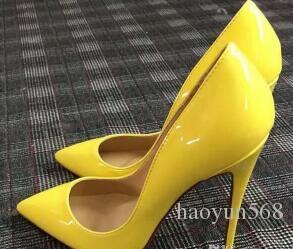 Bombas de couro de patente Pigalle Heels MULHERES sapatos de casamento dedo apontado salto fino mulher sexy vermelho Preto, salto alto Roxo, pele de carneiro 35-44