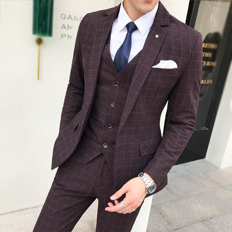 e4132d0605 (Jacket+Pant+Vest) Luxury Men Wedding Suit Male Blazers Slim Fit Suits For  Men Costume Business Formal Wear Party Dress 5XL-S
