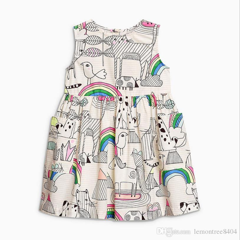 Richu baby clothes dress for girls sleeveless for summer pony children dresses christmas costumes for kids pattern summer o neck dress
