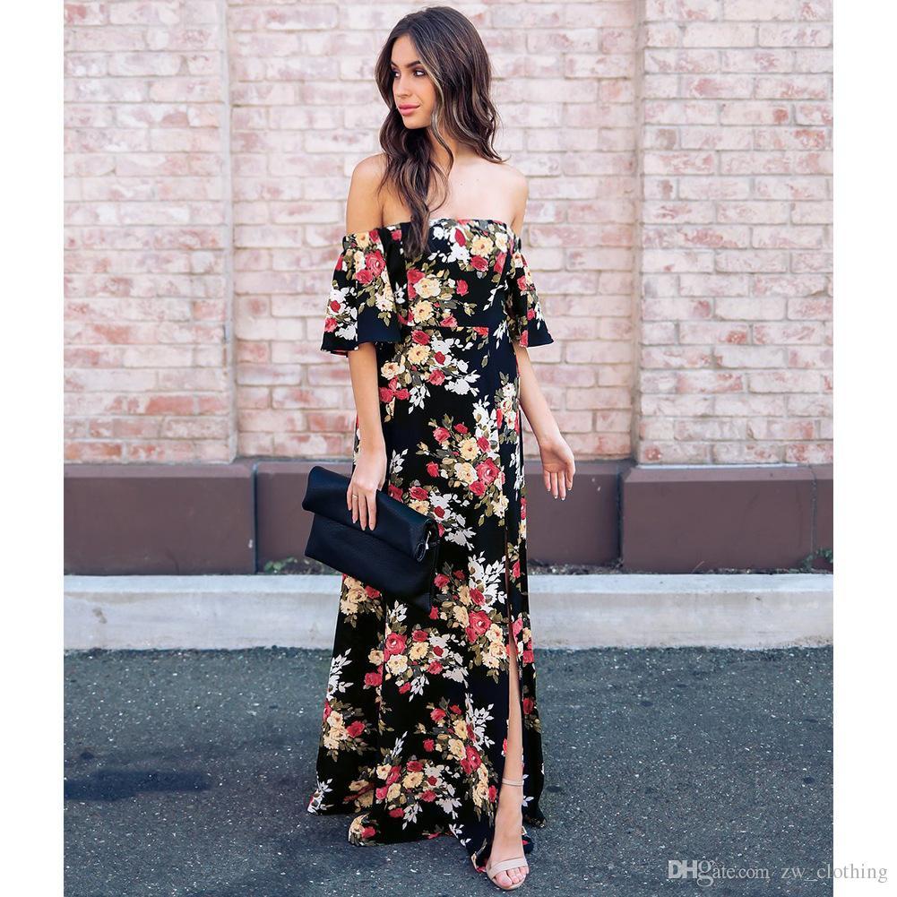 2018 Summer Sexy Off Shoulder Long Floral Print Chiffon Dress Boho ... 0de56990d5d