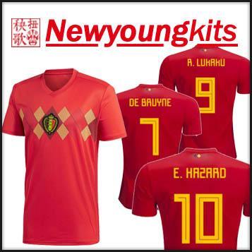 34c28877a1c 2019 2018 World Cup Belgium Home Jersey Red Football Uniforms De Bruyne  Hazard Lukaku Soccer Shirt From Newyoungkits