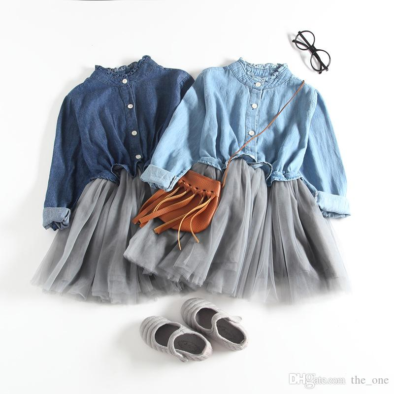 New Autumn Fashion Girls Dresses Kids Denim Chiffon Tutu Dress Girls Fluffy Casual Patchwork Princess Dress Baby Clothes