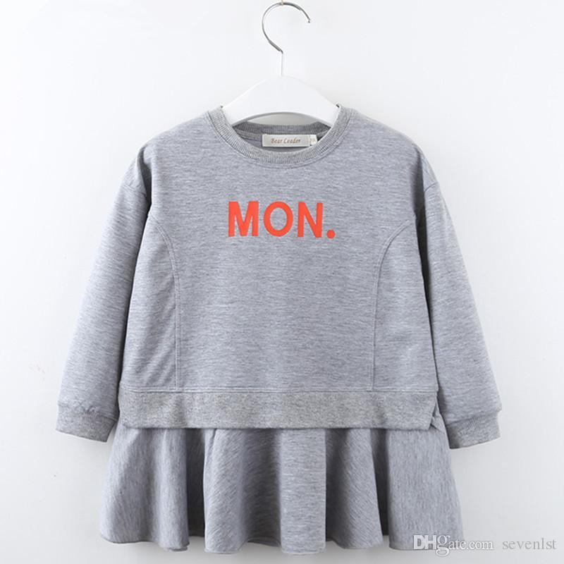b80448176 Bear Leader Baby Girls Blouse Dress Ruffle Frills Sweatershirt Above ...