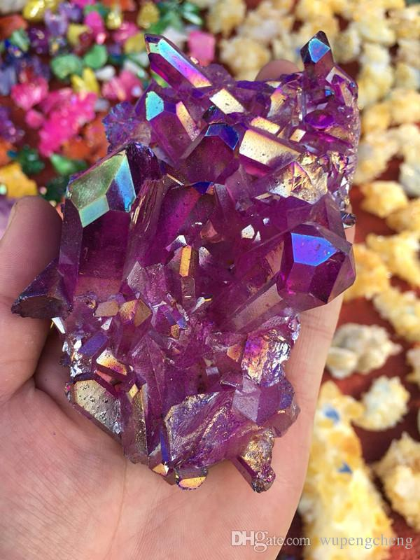 Bulk sales crystal cluster, purple crystal group, quartz crystal titanium bismuth silicon coating group rainbow natural geological stone