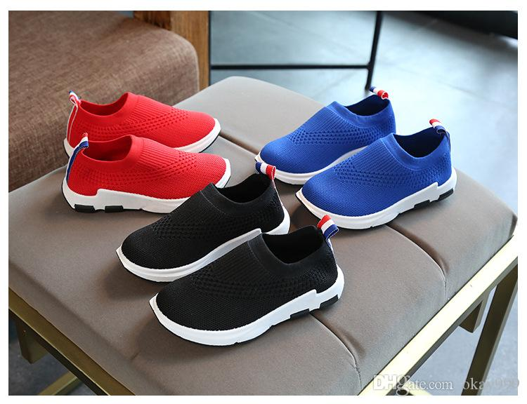 Christmas Brand New arrival Spring autumn Fly knitting kids Socks shoes Breathable casual shoes elastic Mesh children's running shoes