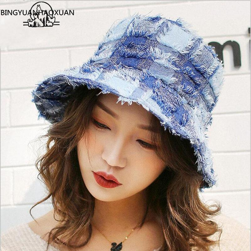 2018 New Women Bucket Hat Patchwork Wide Brim Sun Hat For Female Spring  Summer Fisherman Outdoor Sunscreen Chapeau Femme Bucket Hats For Men Womens  Hats ... 2438735d59
