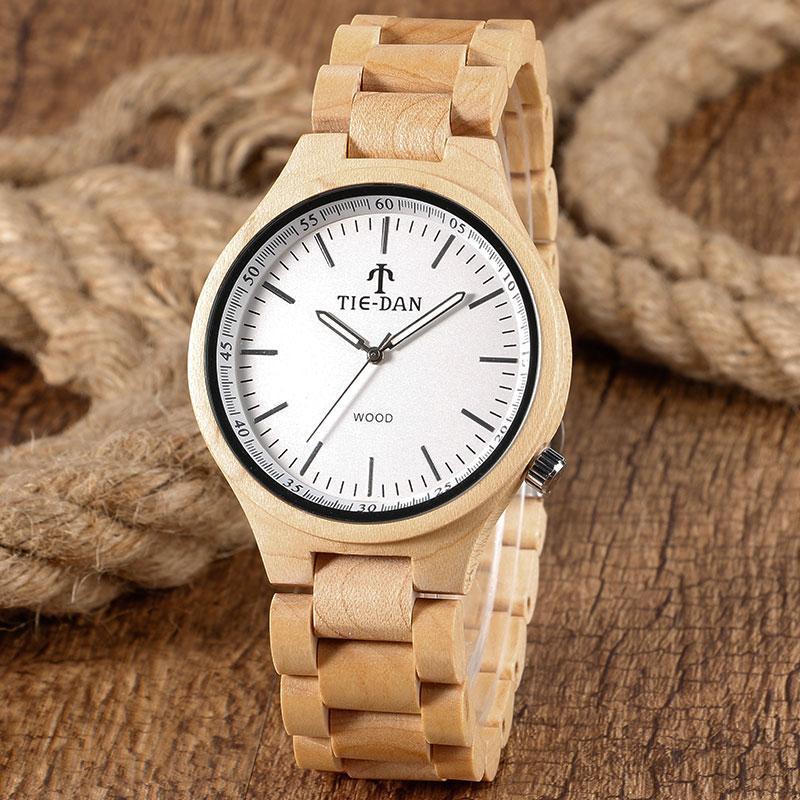 e333eea79b3 Compre Homens De Madeira Completa Banda Relógios De Luxo Natureza Relógio  De Bambu De Quartzo Relógio De Pulso De Madeira Ajustável Pulseira Relogio  Hombre ...