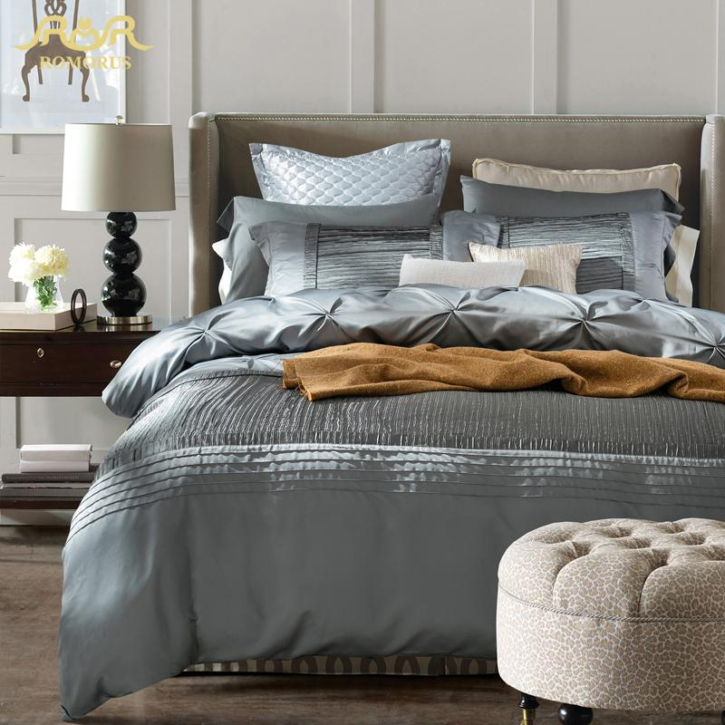 Inspirational Romorus 2017 Luxury Silk Bedding Set King Queen Size Quality Modern Silver Gray Wedding Bed Linen Duvet Cover Sheet Sets Blue And White Duvet Cover New Design - Model Of luxury king bedding Model