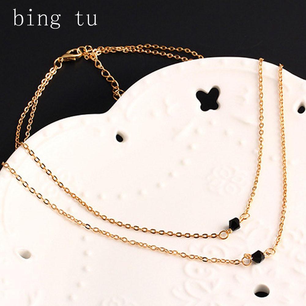 Bing Tu Czarne Koraliki Naszyjnik Vintage Punk Gold Color Multi warstwowe Naszyjniki obojczeniowe Europejska Krótka Choker Biżuteria dla kobiet
