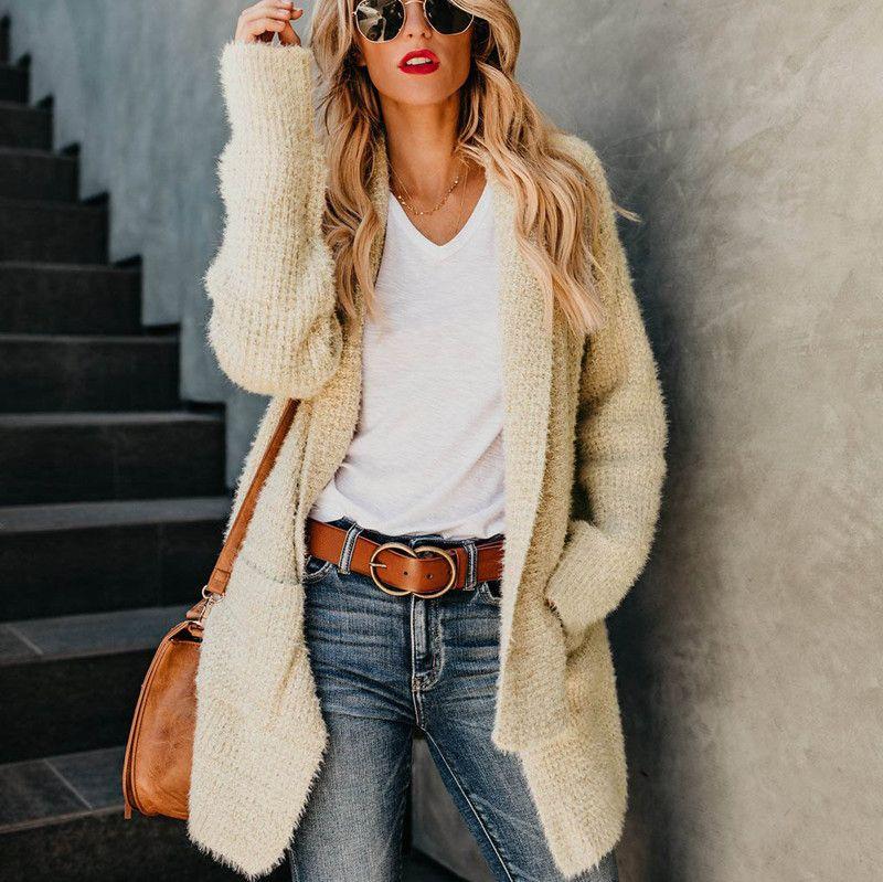 Autumn Winter 2018 Women Long Sleeve Cardigan Coat Casual Jacket Sexy Turn  Down Collar Pocket Split Knitted Tunic Femme Outwear Winter Coats Denim  Jacket ... 0f385f75d