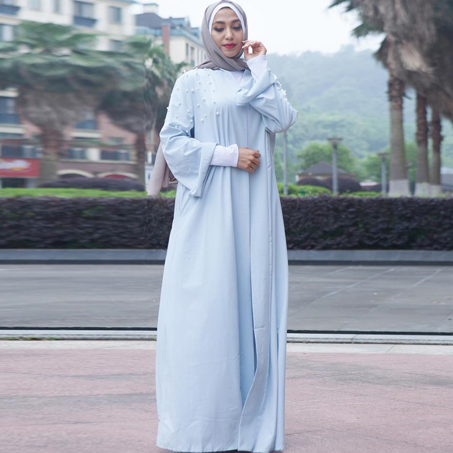 0ec6fc5b693d Compre Moda Muçulmana Branco Rosa Turco Abaya Dubai Vestido Muçulmano  Islâmico E Kimono Abaya Roupas Para Mulheres Feminino Kaftan De Synthetic,  ...