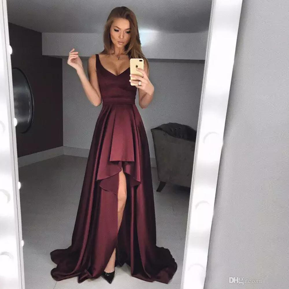 6c78d60b537 Simple Burgundy High Low A Line Prom Dresses Spaghetti Strap Ruffles Homecoming  Dress Satin Asymmetrical Hem Party Gowns Debs Prom Dresses Designer Prom ...