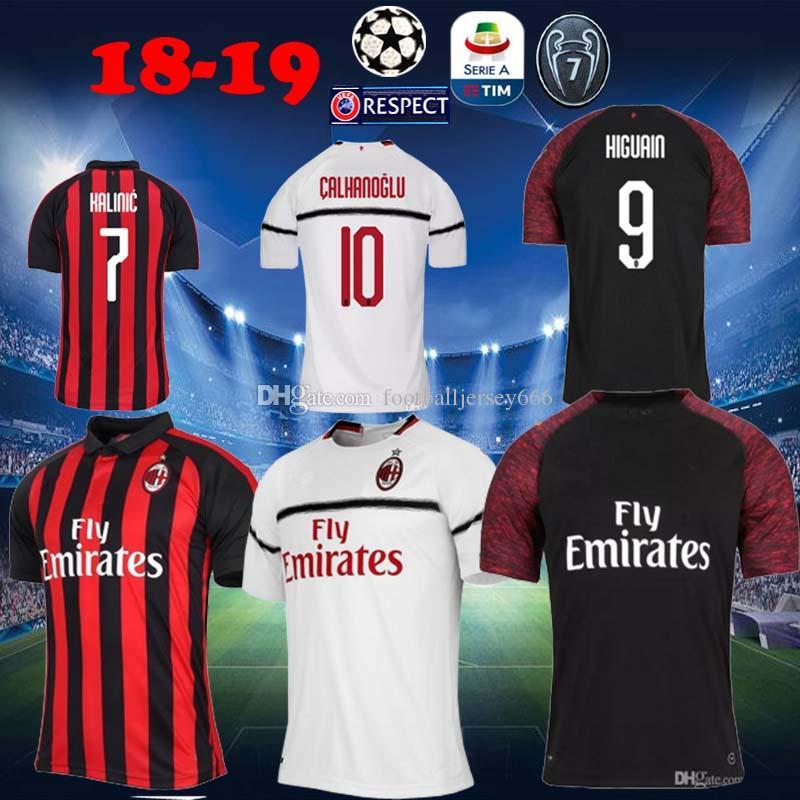 Compre 18 19 AC Milan Camisa De Futebol 2018 2019 Camisa De Futebol HIGUAIN  BAKAYOKO BORINI ... 108225b865eca