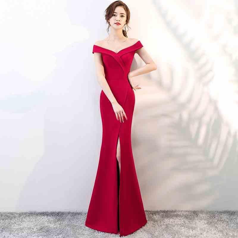 Elegant V-Neck Satin Mermaid Evening Dress Long Split Cocktail Dress Party Gowns Sexy Off-Shoulder Dress Burgundy Red Black Zipper Back D25