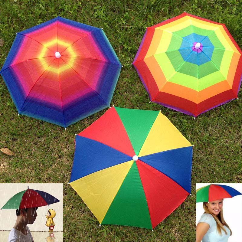 ec3f394e35b Foldable Sun Rainbow Umbrella Hat Outdoor Golf Fishing Camping Shade ...
