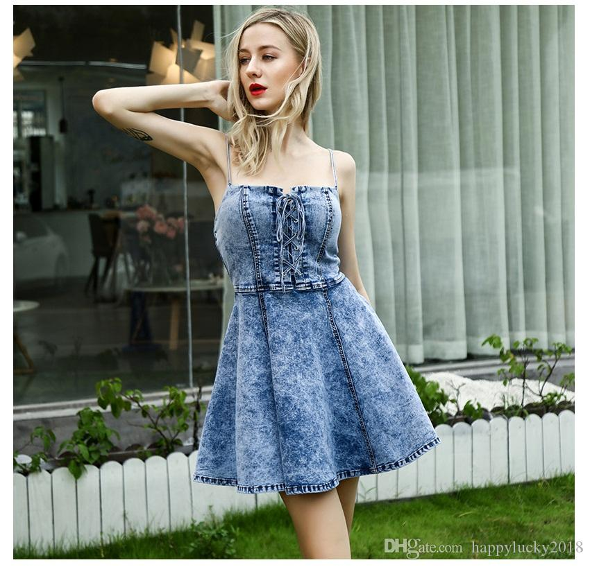 77647af961 Ruffled Sling Denim Skirt High Waist Slimming Big Dress Dress Tube Top Sexy  Strapless Strap Dress Sundress Online Dress 1 From Happylucky2018