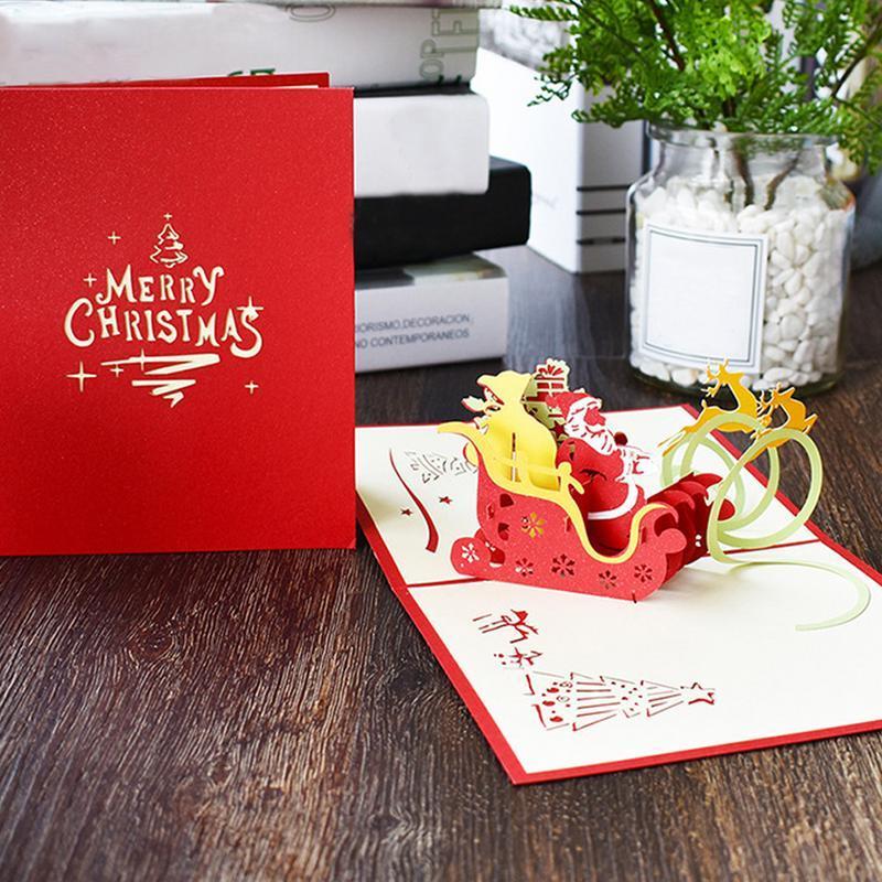 Carte De Noel 3d A Imprimer.2pack Papier Fine Sculpture Artisanat Carte De Noël à La Main 3d Carte En Tridimensionnelle De Célébration Carte De Voeux Flying Deer Voiture