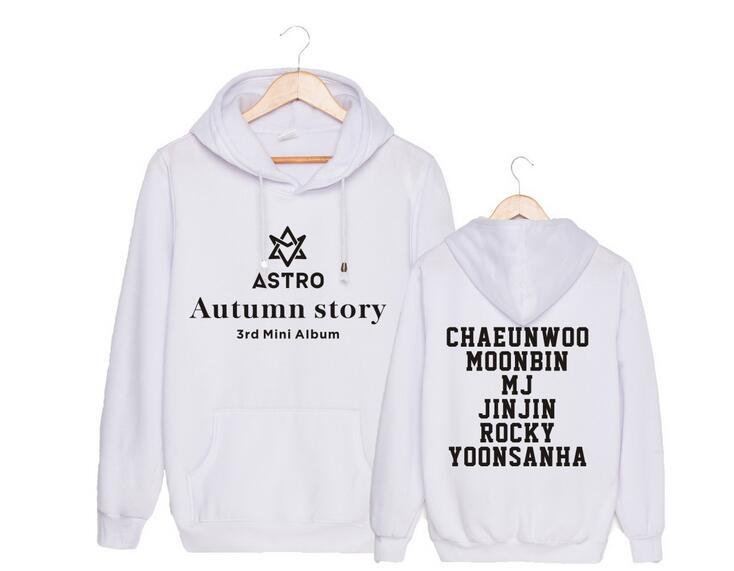 Kpop astro autumn story member name printing pullover hoodies for autumn  winter unisex fleece MJ JINJIN sweatshirt loose hoodie