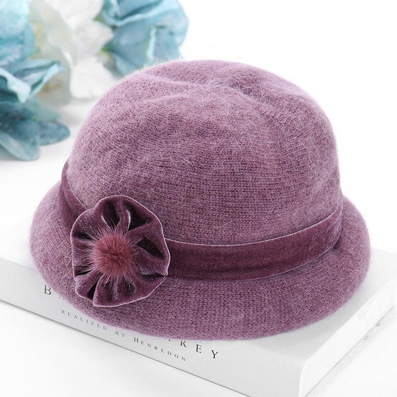 New Vintage Bucket Hat Women 2 Layer Thick Fleece Hats Rabbit Hair Knit Cap  Winter Warm Hat For Mom Aunt Christmas Party Stocking Cap Baby Sun Hat From  ... f47516f635c