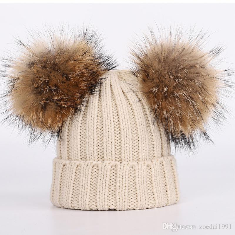 c7999b7b9a75 2019 New Winter Baby Knitted Hat Two Real Fur Pompoms Ball Beanie Kids Caps  Double Pom Pom Hat From Zoedai1991