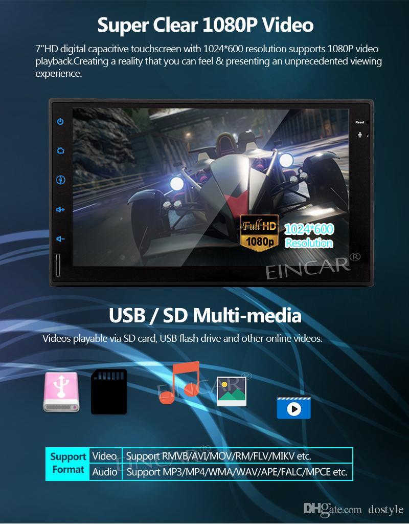 백업 카메라 + 7 '안드로이드 7.1 자동차 스테레오 자동차 플레이어 더블 Din Headunit 자동차 DVD 지원 Naviagion, 블루투스, 전화 링크, AM FM RDS, USB