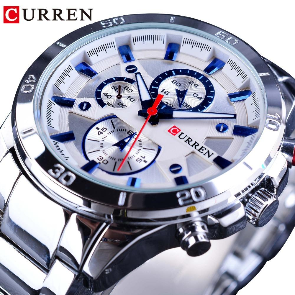 CURREN Silver Stainless Steel 2018 Fashion Blue Hands Mens Quartz Sport Miliatry Wrist Watch Top  Male Montre Homme