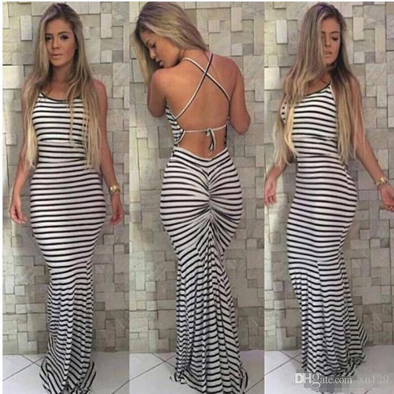 069740f523641 Black And White Stripes Elastic Tight Condole Sexy Backless Dress Womens  Summer Celeb Boho Long Maxi Dress
