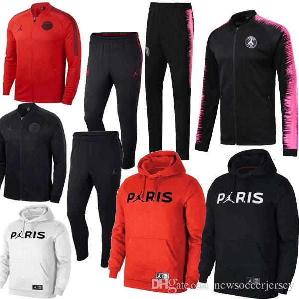 Acheter Thaïlande 2018 2019 New Logo Paris NOIR ROUGE BLANC ROSE Vestes +  Pantalons Survêtements 18 19 Chandal PSG MBAPPE Sweats À Capuche Survetement  De ... 8b577bca2da