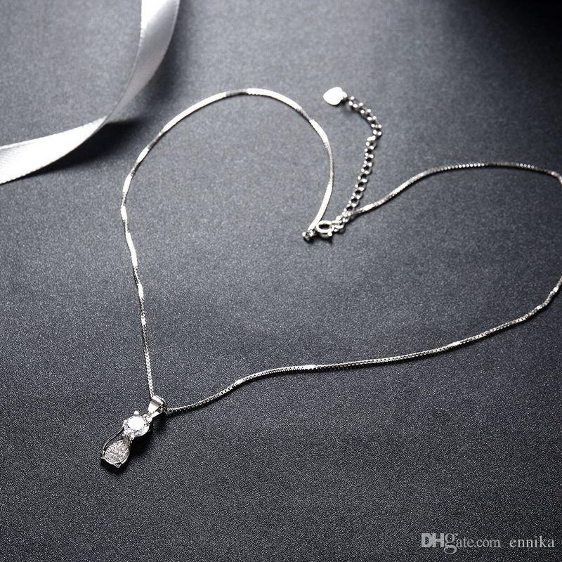 Sterling Silver 925 Chains Pandent Necklace Women Party Jewelry Pure Silver Kitten Pendant Necklace Good Quality n063